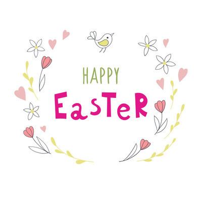 复活节背景与手写题字快乐的复活节