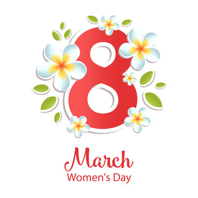 3月8日鲜花贺卡。国际妇女节。矢量插图