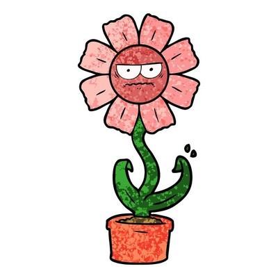 卡通花卉的矢量插图