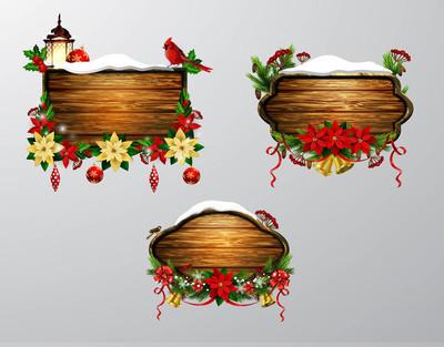 矢量圣诞节木板