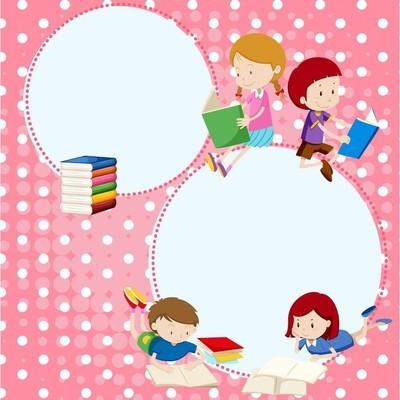 边框模板与许多儿童阅读书籍