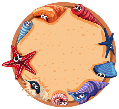 贝壳海星圆形框架设计