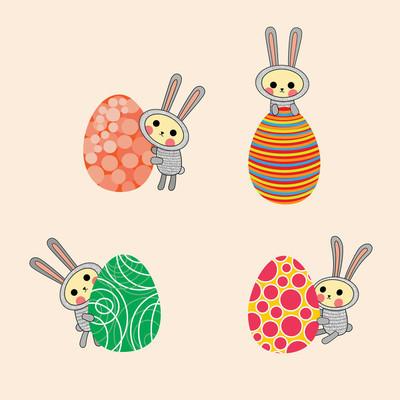 复活节兔。矢量插画