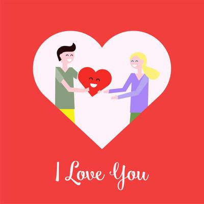 幸福的情侣在爱情中