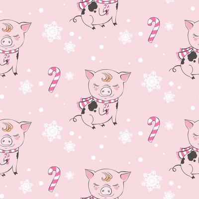 一套可爱的猪场卡通图案人物。中国象征2019年。新年快乐。可爱的动物插画