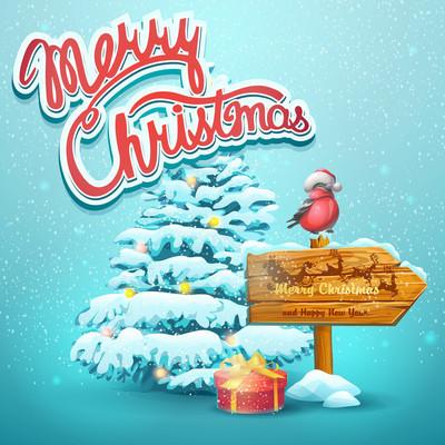 圣诞插画与杉木、 指针、 红腹灰雀
