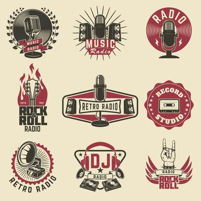 无线电标签。复古的收音机、 录音室、 摇滚电台 em