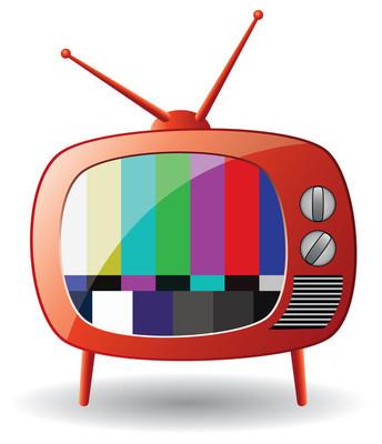 矢量红色复古电视机