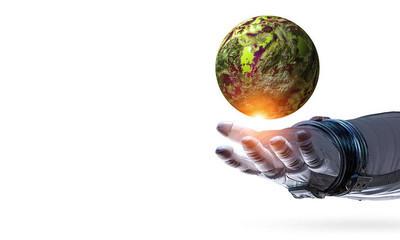 地球日概念。混合介质