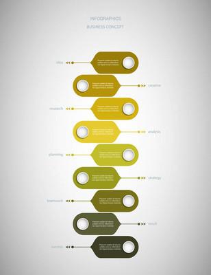 矢量信息图标签设计与图标和9选项或步骤。用于演示横幅、工作流布局、流程图、流程图、信息图表的业务概念图表