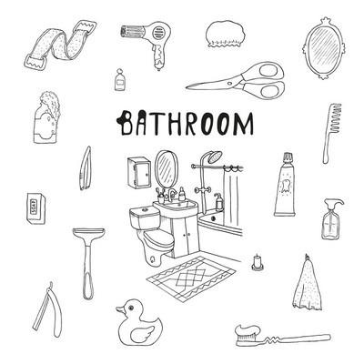 浴室。化妆品对象