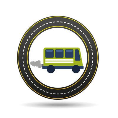 绿色公交车与烟圈道路的方式设计