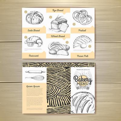 复古烘焙菜单设计。餐厅菜单。文档模板