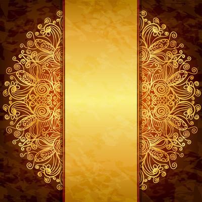 复古黄金设计。封面、 邀请或菜单模板