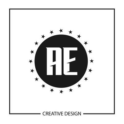 初始字母 ae 徽标模板设计向量插图