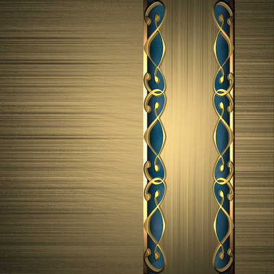 Gold background with a gold plate with blue accents
