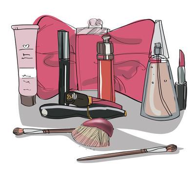 套化妆品化妆。矢量图