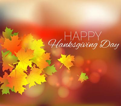 快乐的感恩节背景。秋天的海报或横幅的叶子。Beautyfull 感恩节贺卡