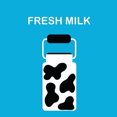 新鲜的牛奶。图像的牛奶罐