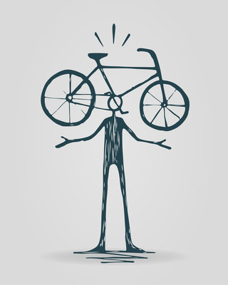 头与自行车概念