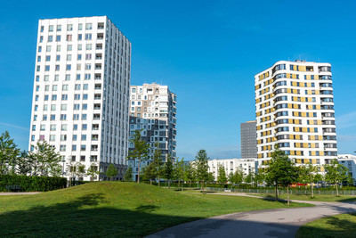 Modern multistory apartment buildings seen in Munich, Germany