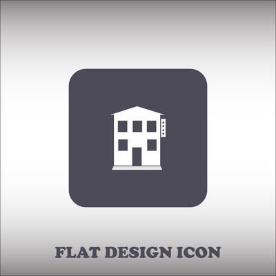 房子图标。圆形的按钮。矢量图
