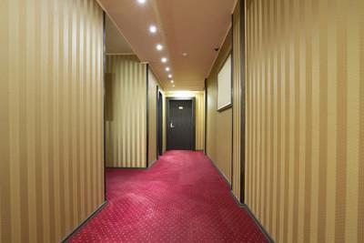 在一座饭店大楼的走廊
