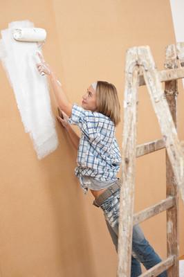 家里的改进: 女人绘画墙体涂料滚子
