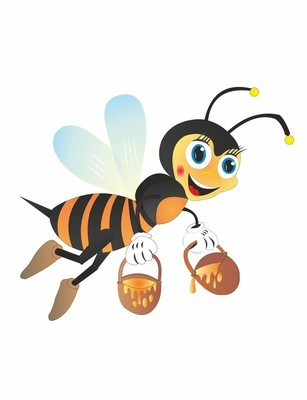 Cartoon bee collect honey