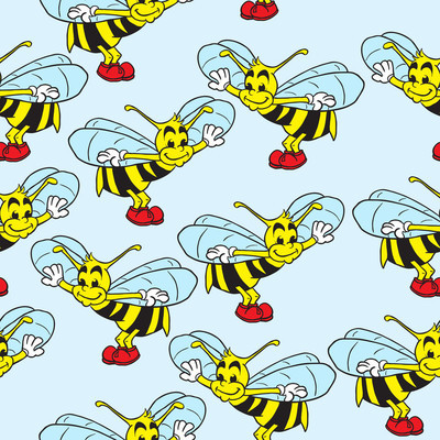 bee seamless pattern on blue