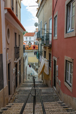 Exposure donne during th day of Alfama, historical old district in Lisbon, Portugal.