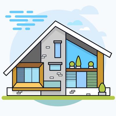 现代住宅的矢量图