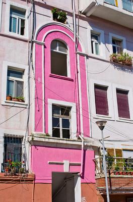 在地中海国家多彩墙
