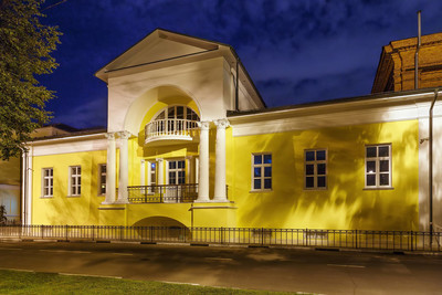 Historical house in classical style in evening in Yaroslavl, Russia