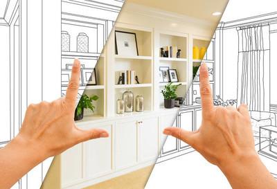 手框架定制内置货架和橱柜设计图纸与部分完成照片