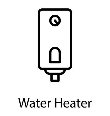 家用燃气热水或燃气喷泉线图标矢量