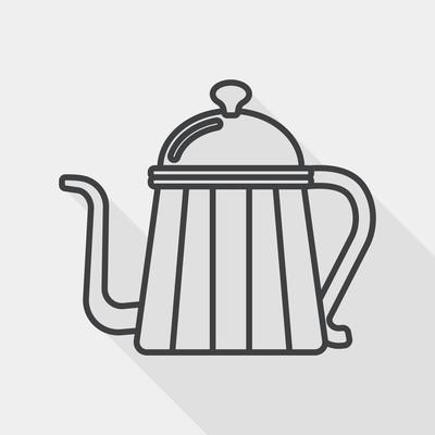咖啡水壶平面图标与长长的阴影,线图标