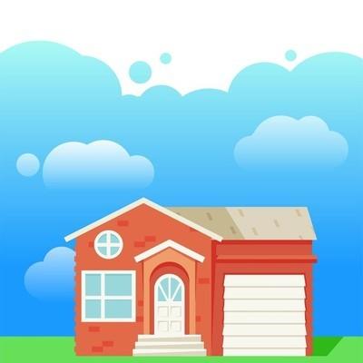 租出来的房子的景观设计。待售房屋