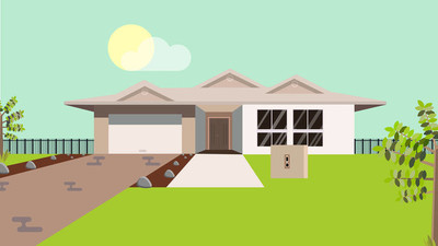 House front yard vector illustration