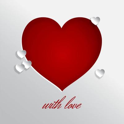 红色的切割心与爱