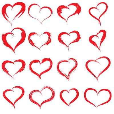 心的形状或爱的符号集
