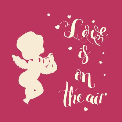 丘比特爱剪影竖琴与爱是空气