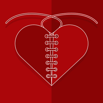 Recovery the broken red heart with thread paper cut style.