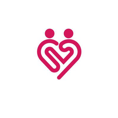Heart icon vector logo,  relations symbol