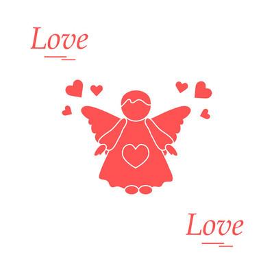 可爱矢量插画︰ 天使和心。爱标志