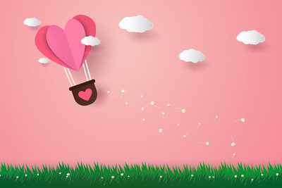 Valentines day , Illustration of love , Hot air balloons in a heart shape flying over grass, paper art style