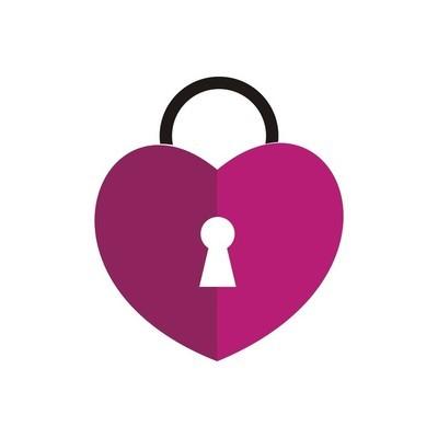 Logo love heart padlock vector
