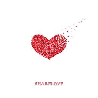 分享爱。Logo 模板。圆形设计。概念的爱