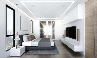 豪华卧室室内设计和液晶电视