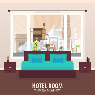 酒店房间。查看从窗口。旅行 nad 旅行。矢量平面插画